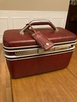 Vintage Samsonite  Makeup Cosmetic Hard Train Case With Mirror  Burgundy Luggage