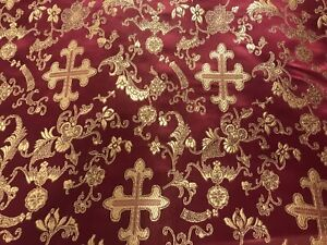 Vintage Fabric Red Black Gold with Symbols and Gold Metalic 77E