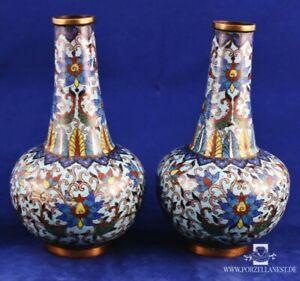China Paar Cloisonné-Vasen Cloisonne Enamel Bronze Vase 19.Jh.