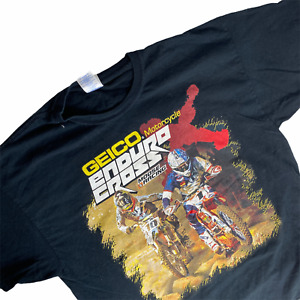 2015 GEICO Motorcycle T-Shirt Enduro Cross Black Moose Racing Tee All Over Print
