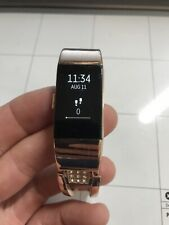 Fitbit Charge 2 Heart Rate Large Metallic Rose Gold Band Rare No Charge Cable