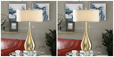 Two Brushed Brass Plate Metal Table Lamp Linen Shade Crystal Base Uttermost