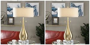 PAIR DESIGNER BRUSHED BRASS PLATE METAL TABLE LAMP LINEN SHADE CRYSTAL BASE