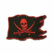 Pirate Flag Skull Cross Swords Red on Black Iron on Patch Biker Patch