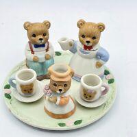 Homco Bear Miniature Tea Set 1427 Figurines Collection Vintage Porcelain Bisque