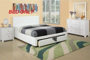 Modern White 1 Piece Bedroom Queen Size Bed Faux Leather Tufted Headboard