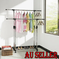 Double Rail Clothing Garment Rolling Collapsible Rack Hanger Stand Portable