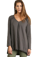UMGEE Charcoal Gray Cotton Tunic Top with Fringe