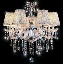 Crystal Ceiling Chandelier Droplet Lamp 6-Light Pendants Warm Large Big Small UK