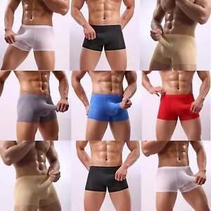81-008 Herren Pants Eisseide mit Penishülle Slip Boxer Shorts 7 Farben in S-2XL