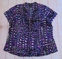 Lane Bryant Women's Size 18 20 Button up V-neck Blouse Top Ruffle 1x Shirt