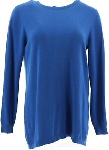 Joan Rivers Crew Neck Sweater Back Button Royal Blue XL NEW A309635