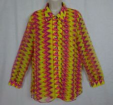 Vintage Zig Zag Pattern Button Front Semi Sheer Blouse~Pink Yellow Orange~ Korea
