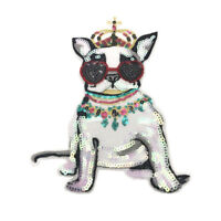 crown dog patches sew on patch for clothes motif sequined embroidery appliqBILU