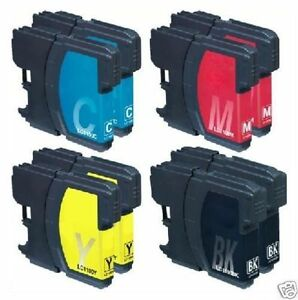 8X Tinta Para Brother MFC-J615w MFC-5890cn MFC-6490cw Compatible A LC-1100 Con