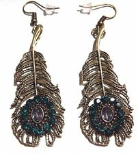 Gold Green Metal Peacock Feather Earrings w/fake Crystals Rhinestones bronze V2