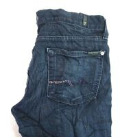 7 For All Mankind Women's Dark Wash Straight Denim Jeans w Gem Pockets 28 x 34