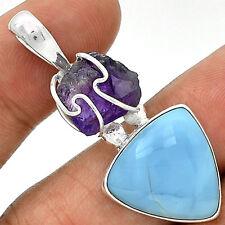 Owyhee Opal & Amethyst Rough 925 Silver Pendant  Jewelry PP52477