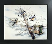 Chickadee Birds House on Tree Animal Contemporary Black Framed Wall Art Picture