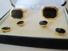 Pierre Cardin Cufflinks & Studs, Classic Eight-Sided Design, Gold-Tone & Onyx