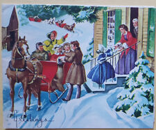 VINTAGE CHRISTMAS CARD HORSES SLEIGHS  FRONT DOOR GRAND PARENTS AND CHILD