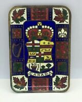 "Vintage enameled Brass Ashtray ""CANADA"" Crown Collectible Colorful 3-5/8""x2-1/2"""