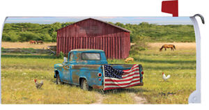 American Flag Truck Red Barn Horses Pig Chickens Pasture Magnetic Mailbox Cover