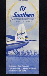 SOUTHERN AIRWAYS 6-18,1962 MARTIN 404 ARISTOCRATS & DC-3 SERVICE CHARLESTON