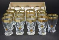 16x Saft Wasser Glas geschliffenes Kristallglas vergoldet mit Etikett (BI2477)