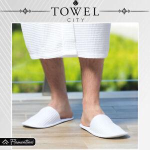 Towel City White Waffle Mule Slippers Closed Toe Spa Sauna Bath Polyester Cotton