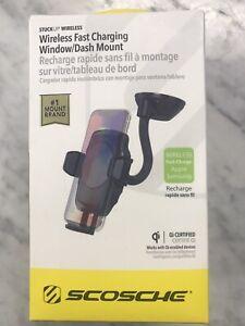 SCOSCHE Wireless QI Fast Charging Universal  Window/Dash Mount - Black Pls Read
