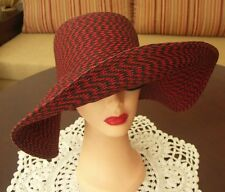 Gorgeous vintage red and black wide brim straw floppy hat