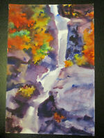 Gouache Watercolor Andre Delfau Modernist MidCentury Modern Abstract Waterfall