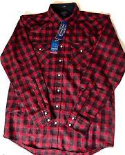 Pendleton Mens Canyon Large/Tall Virgin Wool Red Black Plaid Shirt Nwt