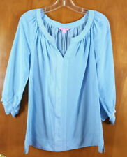 LILLY PULITZER Size S Blue White Striped Raglan Sleeve Pearl Button Blouse Top