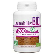 Levure de Bière Bio Végétal 400 Mg 200 Comprimés Soin Cheveux Ongles NEUF