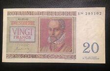 1950 20 Francs Belgium pick 132a Franc Bank Note Unc Excellent