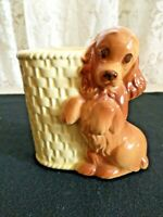 VINTAGE 1950'S COCKER SPANIEL CERAMIC BASKETWEAVE VASE PLANTER MARKED U.S.A.