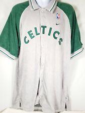 Nike Team Sports Gray Boston Celtics Warm Up Jersey Shirt Button Up Medium