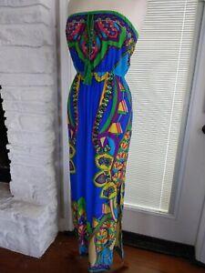 Flying Tomato Strapless Maxi Dress Colorful Boho Beach Empire M