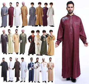 Men Muslim dress Saudi Style Thobe Robe Islamic Kaftan Abaya Arab Dubai Clothing