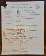 1928 Fardons Vinegar Company, Glover Street, Birmingham Invoice & Letter