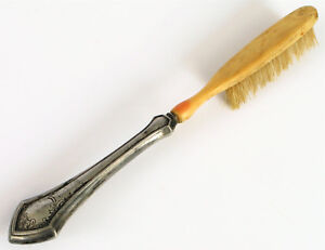 ANTIQUE WEBSTER STERLING SILVER HANDLE BRISTLE SCRUBBING CLEANING BRUSH