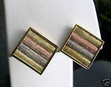 Yellow White Rose Tricolor 14K Solid Gold Square Stud Earring ButterflyBack NWOT