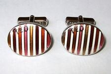 Ted Baker Cufflinks orange pink White brown yellow  Enamel Stripes