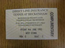 04/06/1993 Tennis ticket: ligne directe d'assurance Tennis [à Beckenham Cricket Clu