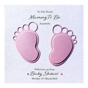 Handmade PERSONALISED Baby Shower Card - Pink