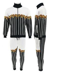 Men Causal Baroque Print Tracksuit Set Collar Tracksuit Full Zip Jogging Set 2pc
