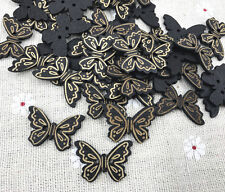25PCS Wooden Buttons Black butterfly Sewing Scrapbooking Decoration 2-Holes 24mm