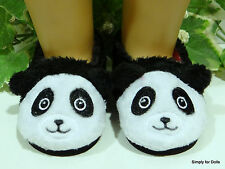 "PANDA BEAR Black & White DOLL SLIPPERS BOOTIES SHOES fits 18"" AMERICAN GIRL DOLL"